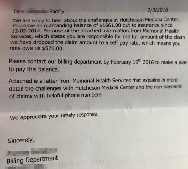 Hutcheson Employee Creditor Letter / No Insurance