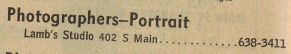 1968 Telephone Book - Lamb's Studio