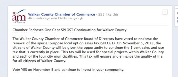 Chamber of Commerce SPLOST Endorsement