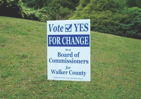 Sole Commissioner Change / Vote Yes Sign
