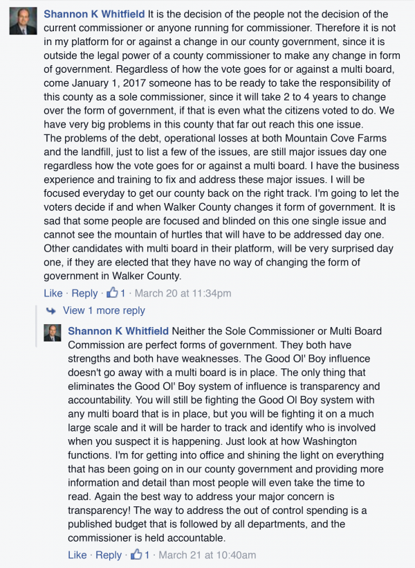 Shannon Whitfield Facebook on Sole Commissioner