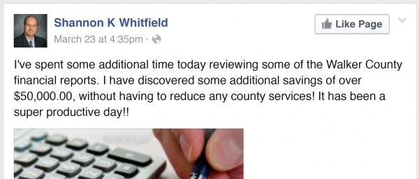 Whitfield Found $50,000 Savings?