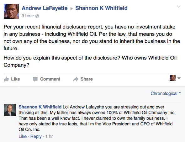 Shannon Whitfield Facebook / Not Owner of Business