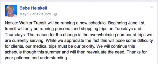 Bebe Facebook - Walker Transit Schedule Change