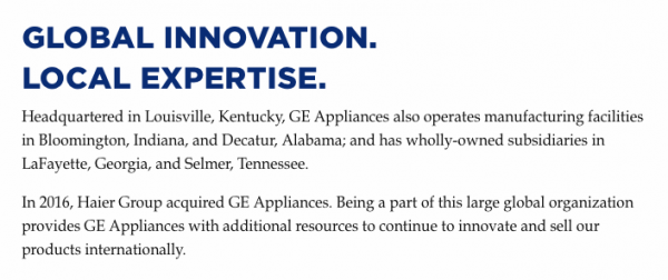 GE Appliances Web Site After Buyout