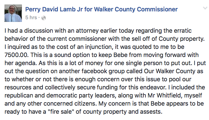 Perry Lamb Facebook - Bebe Fire Sale Injunction