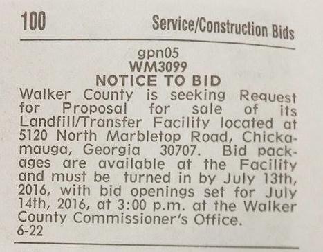 Walker Co Messenger: Landfill Sale Bids (06-22-16)