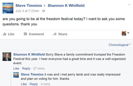 Shannon Whitfield Facebook - Freedom Festival Absence