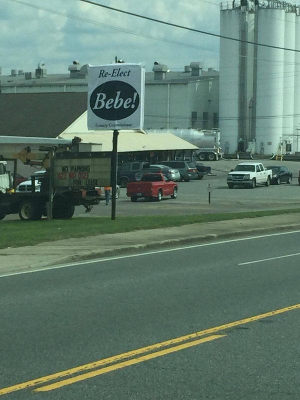 Re-Elect Bebe Sign in Chickamauga
