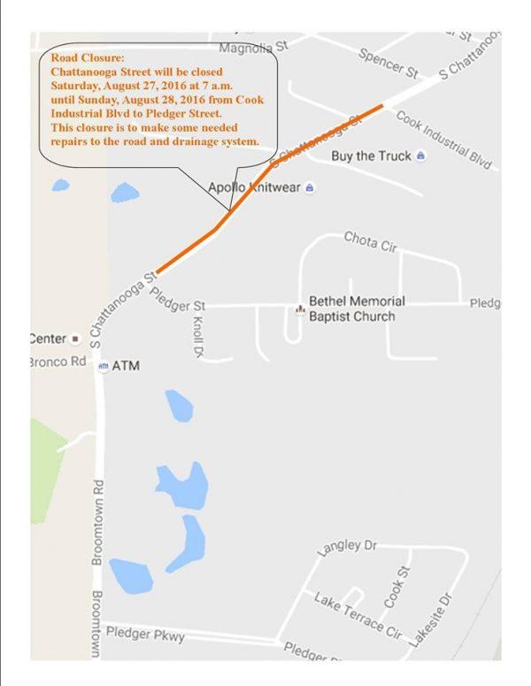 Chattanooga Street Road Closure Map