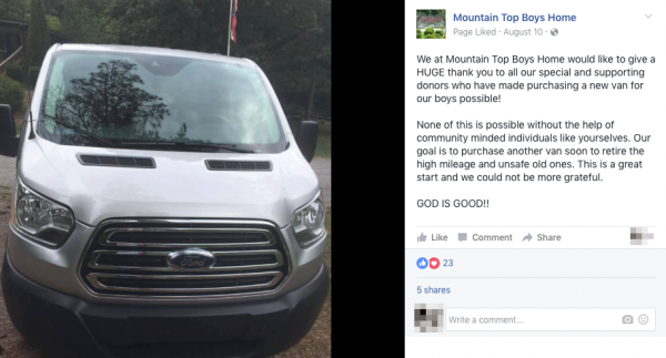 Mountain Top Boy's Home Van Purchase Announcement