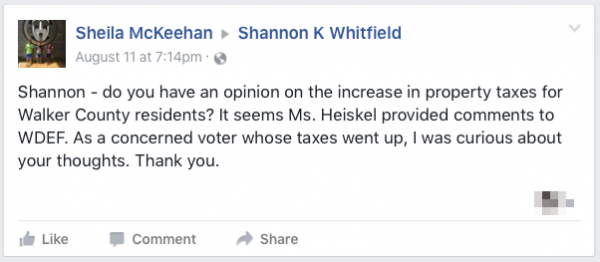 Shannon Whitfield Tax Question Unanswered
