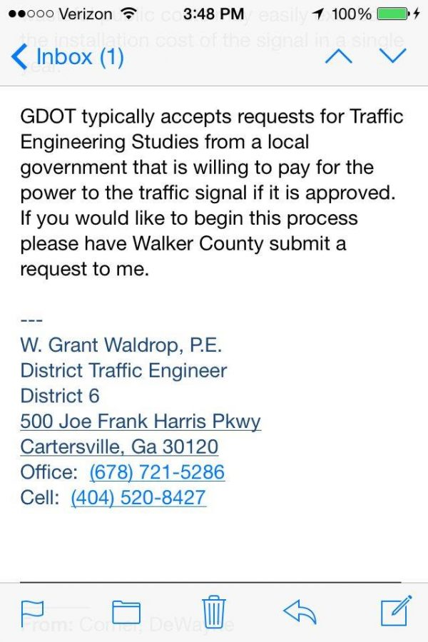 Saddle Ridge Light Petition - GDOT Response