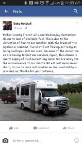 Heiskell Facebook - No Fuel for Transit