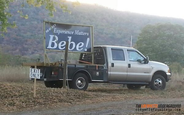 Bebe Sign at Walker County Fair